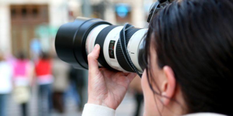 Fotokamera, Fotografin, Frau, Journalistin